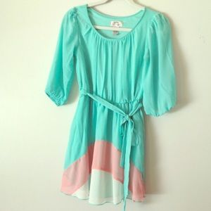 Mint green coral Easter or Summer dress sz small